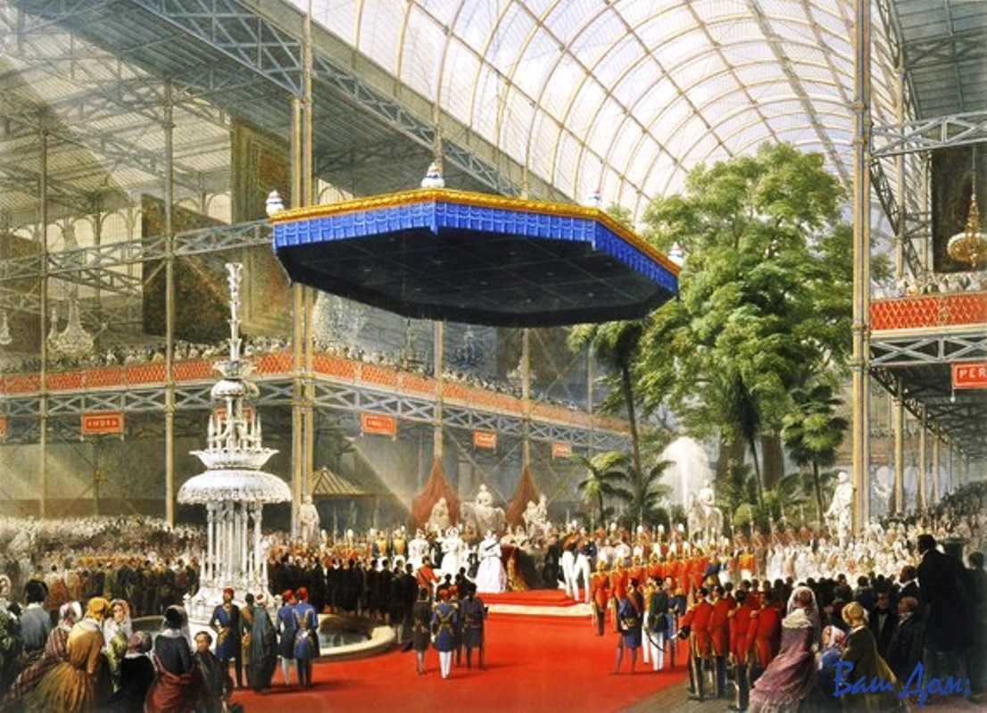 Мебель из стекла и металла Crystal_Palace_-_Queen_Victoria_opens_the_Great_Exhibition